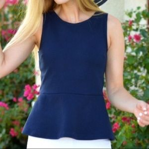 J.Crew Navy Peplum Top